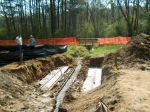 Preparing to install a bottomless culvert in a creek along the Chattahoochee